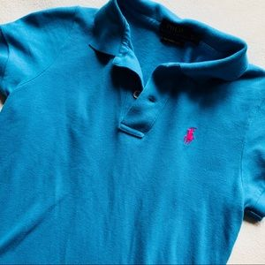 XS💕Polo Ralph Lauren Skinny Polo Turquoise Blue